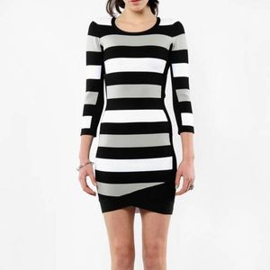 BCBG Striped Bandage Party Dress